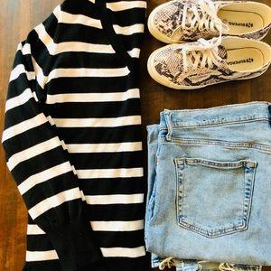 Striped Merino V-Neck Sweater